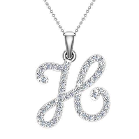 Initial Necklace H Letter charms Diamond pendant necklace 18K Gold (G,VS) - White Gold