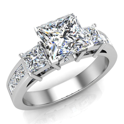 Past Present Future Princess Diamond Engagement Ring 1.81 ctw 18K Gold (G,SI) - White Gold