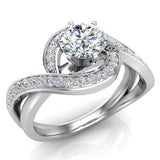 1.00 carat Intertwined Diamond Engagement Ring Twisted Shank 14K Gold Setting (G,VS) - White Gold