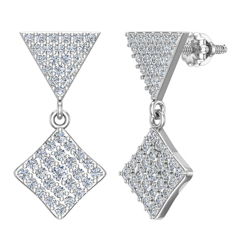 Square Diamond Dangle Earrings 18K Gold 0.80 ctw (G,VS) - White Gold