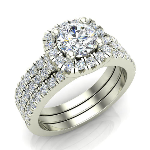 Luxury Round Cushion Halo Diamond Engagement Ring Set 18K Gold (G,SI) - White Gold