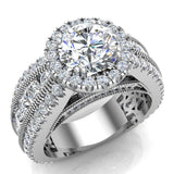 Moissanite Engagement Rings 14K Gold Real Diamond accented Ring Channel Set 4.84 carat tw (I,I1) - White Gold