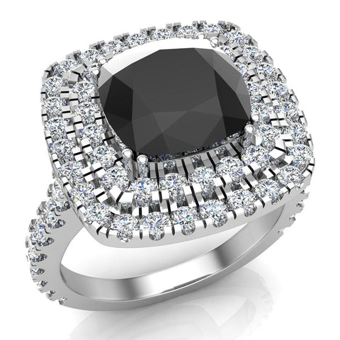 Black Diamond Cushion Cut Double Halo Diamond engagement rings for women 14K Gold 3.00 ctw (G,SI) - White Gold
