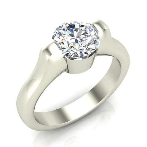 Classic Round Solitaire Diamond Engagement Ring 1.00 ctw 18K Gold (G,SI) - White Gold