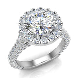 Moissanite Engagement rings 18K Gold Halo Rings for women 4.15 carat (G,VS) - White Gold