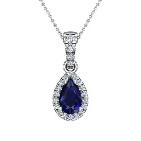 Pear Cut Sapphire Halo Diamond Necklace 14K Gold (I,I1) - White Gold