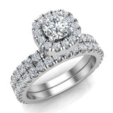Petite Wedding rings for women Cushion Halo Round Brilliant Diamond Bridal Set 18K Gold 1.50 carat (G, VS) - White Gold