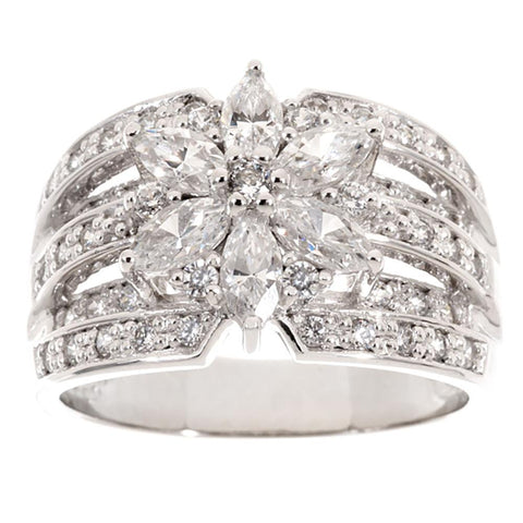 Epiphany Diamonique 1.35 ct tw Mixed Cut Flower Ring