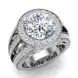 Large Moissanite Engagement Ring Real Accented Diamond Ring 18K Gold 9.30 mm 4.56 carat tw (G,VS) - White Gold