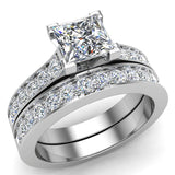 Princess Diamond Cathedral  Accent Engagement Ring Set in 14K Gold (G,SI) - White Gold