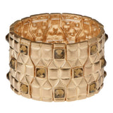 Shoshanna Quilted Design Color Crystal Accent Stretch Bracelet