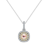Round Cut Pink Morganite Cushion Double Halo 2 tone necklace 14K Gold (G,SI) - Yellow Gold