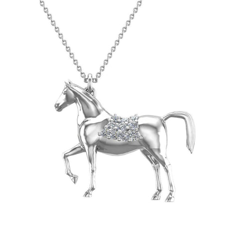 Horse Diamond Necklace for Women 18K Gold 0.20 ct tw - Horse Accessories (G,VS) - White Gold