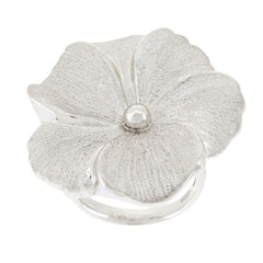 Sterling Bold Textured Flower Design Ring