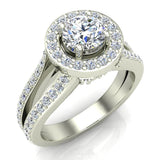 Exquisite Round Diamond Halo Split Shank Engagement Ring 1.35 ctw 18K Gold (G,SI) - White Gold