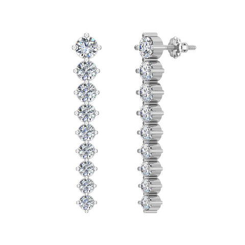 Bridal Journey Style Diamond Chandelier Earrings 18K Gold 3.52 ctw (G,VS) - White Gold