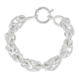 "Sterling 6-3/4"" Polished and Textured Status Link Bracelet, 27.6g"