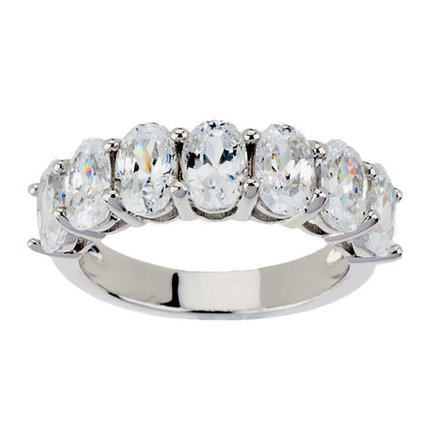Epiphany Diamonique 100-Facet Oval 7-Stone Band Ring