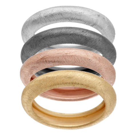 Vicenza Silver Sterling Set of Four Satin Finish Stack Rings
