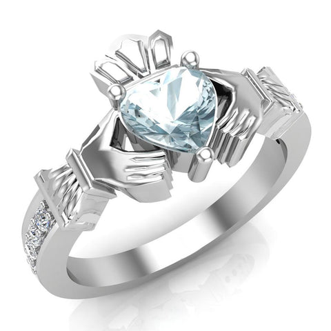 Genuine Heart Blue Topaz Claddagh Diamond Ring 0.62 Carat Total Weight 14K Gold - White Gold