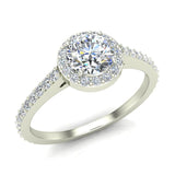 0.90 ct tw Round Brilliant Diamond Dainty Halo Engagement Ring 14K Gold (G,VS) - White Gold