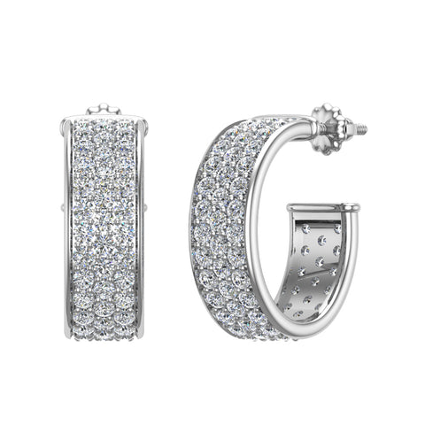 19.41 mm Diameter Three Row Pave Set Diamond Hoop Earrings 3.00 ctw 14K Gold (G,SI) - White Gold