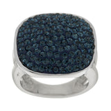 Steel by Design Pave' Crystal Cushion Shape Ring