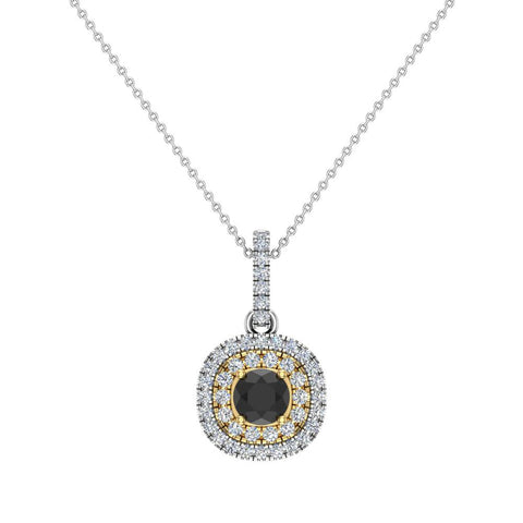 Round Cut Black Diamond Cushion Double Halo 2 tone necklace 14K Gold (I,I1) - Yellow Gold