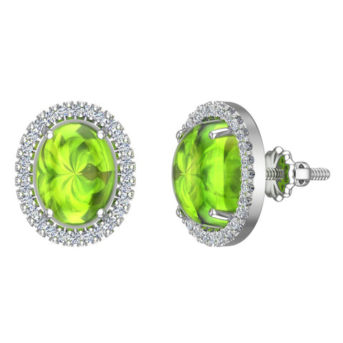 4.34 ct tw Green Peridot & Diamond Cabochon Stud Earring In 14k Gold (G, I1) - White Gold