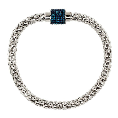 Stainless Steel Popcorn Chain Bracelet w/ Pave' Magnetic Clasp