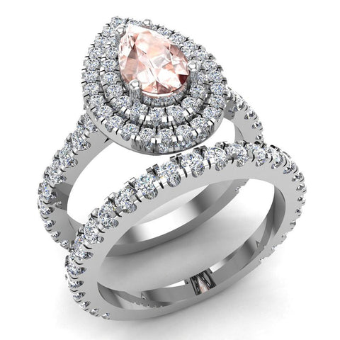 Pear Cut Pink Morganite Double Halo Wedding Ring Set 18K Gold (G,VS) - White Gold