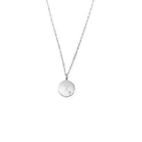 Basch Sterling Initial Round Disc w/Diamond Acct and Chain