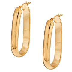 "Bronze 1-1/2"" Linear Design Oval Hoop Earrings by Bronzo Italia"