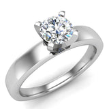 Solitaire Diamond Ring Fitted Band Style 14k Gold (G,SI) - White Gold