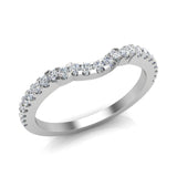 Diamond Wedding Band matching to Three stone Split Shank Wedding Ring 18K Gold 0.25 carat (G,VS) - White Gold