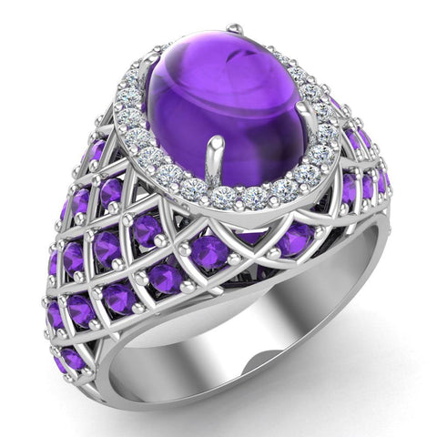 Cabochon Amethyst & Diamond Cocktail Ring Halo Style Dome Shape Fashion Ring 2.93 Carat Total Weight 18K Gold - White Gold