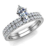 Petite Wedding Rings for women Marquise Cut Bridal set 18K Gold 0.90 carat (G, VS) - White Gold