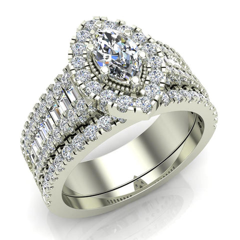 Statement Band Marquise Cut Halo Diamond Engagement Ring Baguettes 1.43 Carat Total 14K Gold (G,I1) - White Gold