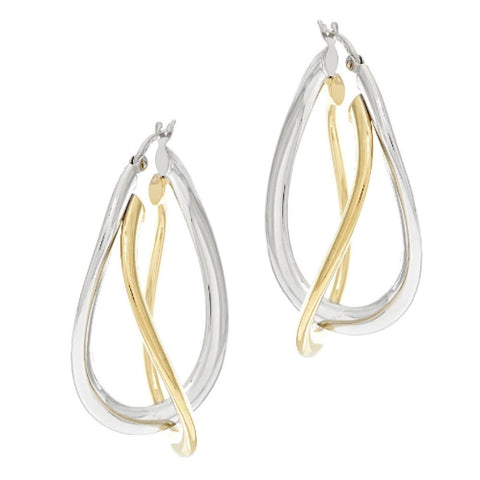 "Vicenza Silver Sterling 1-5/8"" Double Twist Oval Hoop Earrings"
