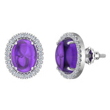 4.34 ct tw Amethyst & Diamond Cabochon Stud Earring In 14k Gold (G, I1) - White Gold