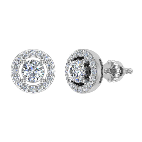 Exquisite Classic Diamond Halo Stud Earrings 14K Gold 4.00 mm Center (I,I1) - White Gold