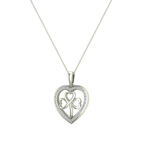 Heart Necklace 18K Gold Diamond Halo with Exquisite Styling (G,SI) - White Gold