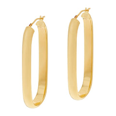 "Bronze 2"" Linear Design Oval Hoop Earrings by Bronzo Italia"