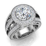 Large Moissanite Engagement Ring Real Accented Diamond Ring 14K Gold 8.00 mm 3.50 carat tw (G,SI) - White Gold