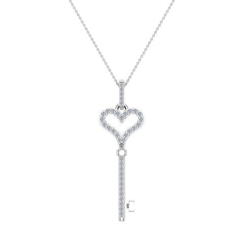 14K Gold Key to your Heart Diamond Necklace ¼ ctw (I,I1) - White Gold