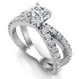 X Cross Split Shank Round Brilliant Diamond Engagement Ring 1.75 carat Total 18K Gold - White Gold