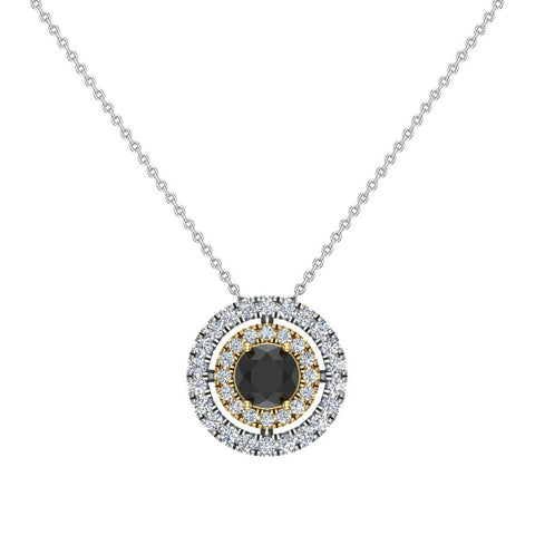 Round Cut Black Diamond Double Halo 2 tone necklace 14K Gold (I,I1) - Yellow Gold