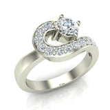 Promise Snake Love Knot Diamond Ring 14K Gold 1.00 ctw (G,SI) - White Gold