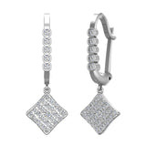 Square Diamond Dangle Earrings Dainty Drop Style 14K Gold 1.31 ctw (I,I1) - White Gold