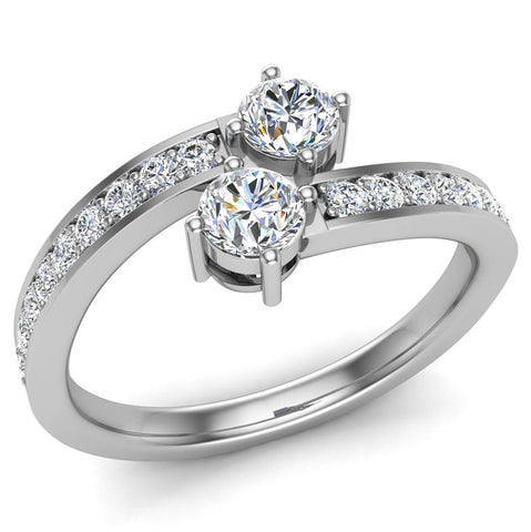 Two-Stone Ring Accent Diamond Engagement Setting 14k Gold (G,SI) - White Gold